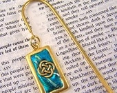 Gold Framed Celtic Knot Bookmark / Teal Blue Turquoise Aqua - Shepherd Hook, Charm, Friendly Plastic Modeling Polymer