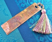 "Love & Beatles Bookmark - Torch Flame Patina Stamped Hammered Copper with Tassel - Quote Personalized - ""All You Need is Love"""