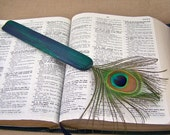 Bookmark - Exotic Peacock Feather and Dyed & Lacquered Cedar - Blue, Green and Violet Wood Page Marker