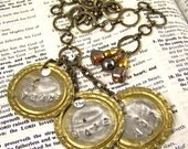 Bookmark - Found Objects Stamped Engraved Bottle Caps - Glass & Mixed Media Beads - Bronze Chain Page Marker