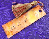 "Beatles Bookmark - Torch Flame Patina Stamped Hammered Copper with Tassel - Encouraging Quote Personalized - ""Let it Be"""
