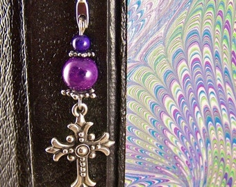 Bible Book Mark - Silver Plated Cross and Beads with Purple Stone and Violet Beads - Silver Plated Shepherd Hook