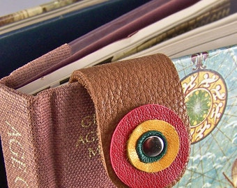 Bookmark - Leather Circles Happy Bright Colors, Red, Yellow, Green, Brown