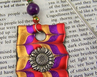 Marbled Bookmark / Gold Purple & Orange Red Marbleized Pattern with Beads, Flower Pewter Charm Friendly Plastic Modeling Polymer on Hook