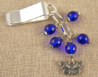 Butterfly Bookmark - Silver Plated Chain - Silver Plated Clip - Cobalt Blue Glass Beads - Pewter Charm