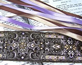 Bookmark - Jacquard Ribbon /  Lavender, Silver & Tan Brown - Ornate Floral Theme - Satin Ribbon Tassels