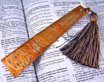 "Bookmark - ""I Am The Way"" Bible Quote John's Gospel - Engraved, Hammered, Forged Copper - Tassel - Faith Quote Personalized"
