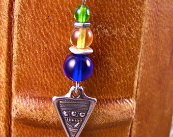 Bookmark - Triangle Silver Plated Pewter Charm - Cobalt, Amber & Green Glass Beads - Silver Plated Beads and Shepherd Hook Page Marker