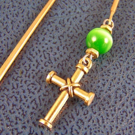 Bookmark - Brass Plated Cross with Glass Lime Green Tiger Eye and Brass Beads - Brass Plated Shepherd Hook Page Marker