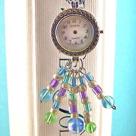 """Stopped Watch Bookmark - White Faced """"Time Stands Still"""" Watch Head - Mixed Media Pastel Beads - Silver Plated Shepherd Hook"""