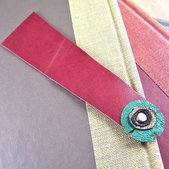 Leather Circles Bookmark - Red, Green, Black and Gold Leather with a Silver Rivet