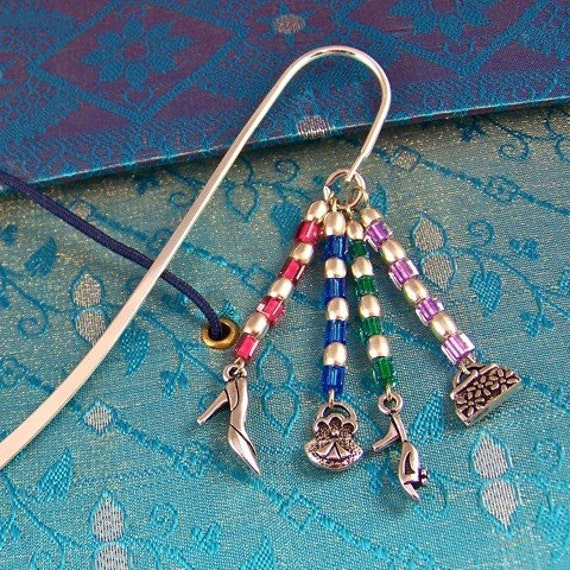 """Fashion Queen Bookmark - Silver Plated Pewter """"Purse & Shoes"""" and Mixed Media Beads - Silver Plated Shepherds Hook"""