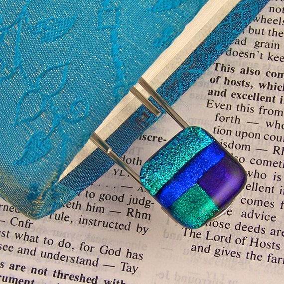 Dichroic Bookmark 3 Inch Paperclip - Blue Green Purple Turquoise Patchwork Fused Glass