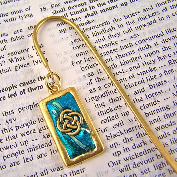 Gold Framed Celtic Knot Bookmark / Teal Blue Turquoise Aqua - Shepherd Hook, Charm, Friendly Plastic Modeling Polymer