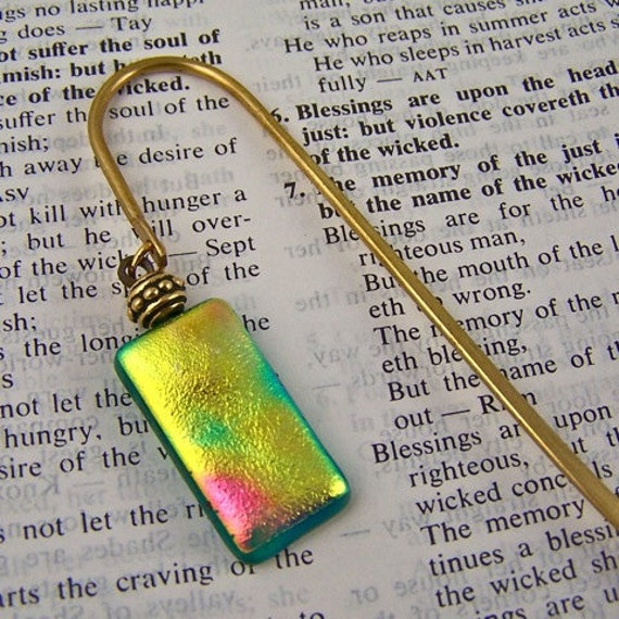 Bookmark - Dichroic Special Effects Golden Yellow, Pink & Emerald -  Gold Colored Shepherd's Hook / Fused Glass and Brass Bead