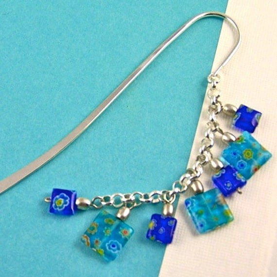 Book Mark - Cobalt, Turquoise, Aqua Blue  Millefiori - Silver Plated Chain - Silver Plated Shepherds Hook - Silver Colored Beads