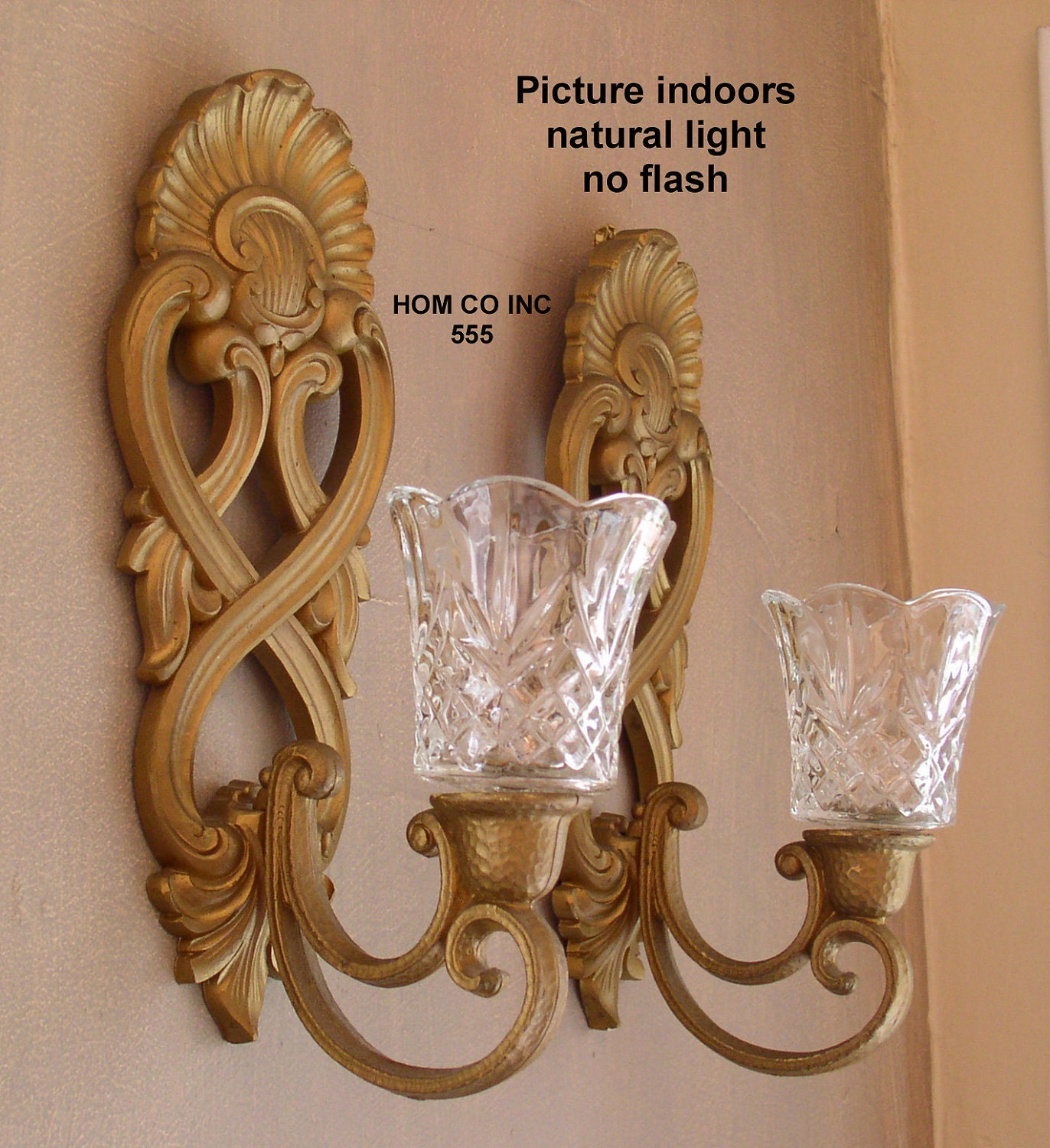 Wall Sconces Near Tv : Vintage Scroll Wall Sconce Candle Holder with Glass Inserts