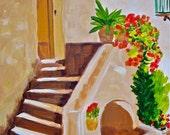 Original painting rustic stairway SALE