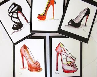 FASHION ILLUSTRATION:  Louboutin shoe notecards