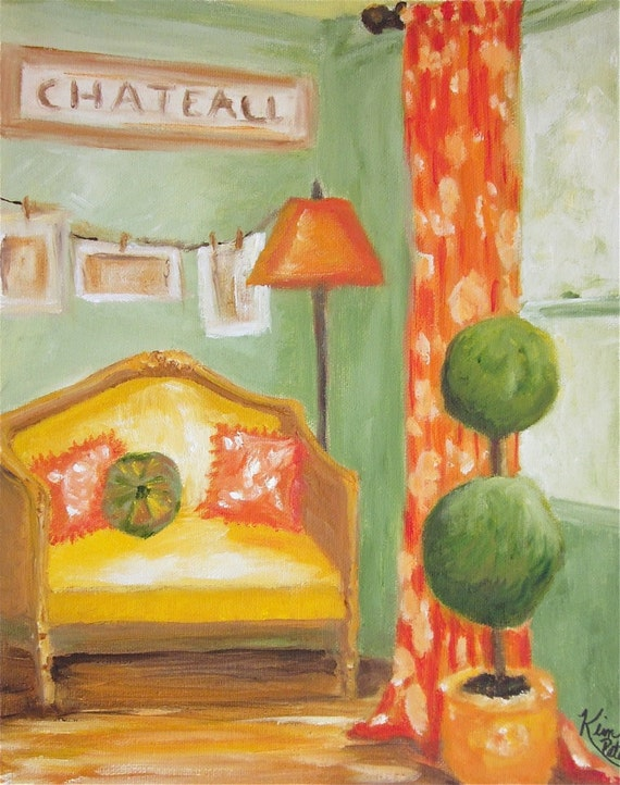 Original Oil Painting: French country interior I