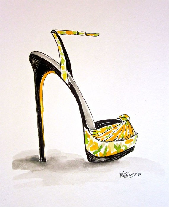 Original Fashion illustration : Guiseppe Zanotti pen and watercolor illustration