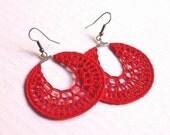 Red crochet earrings