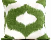 Duralee Green and White Ikat  Decorative Pillow Cover - Accent pillow, Throw pillow, Pillow Cushion, Pillowcase