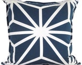 Navy Blue and White Geometric Decorative Pillow Cover 20x20 LAST ONE