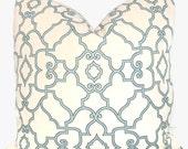 Aqua and Ivory Trellis Decorative Pillow Cover 20x20
