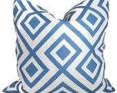 David Hicks La Fiorentina Groundworks Designer Blue and White Linen Geometric Decorative Pillow Cover  18x18, 14x20 or 12x24