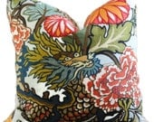 Aquamarine Schumacher Chiang Mai Decorative Pillow Cover with Dragon Face 18x18, 20x20 or 22x22, throw pillow, accent pillow
