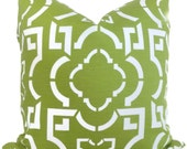SALE Apple Green and White Lattice by Duralee Fabric Decorative Pillow Cover 18x18, 20x20 or 22x22  Accent Pillow, Throw Pillow, Toss Pillow