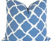 Iman Royal Blue and White Ikat Decorative Pillow Cover 18x18 or Lumbar pillow cover LAST ONE!