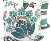 Turquoise, Teal and Gray Jacobean Floral  Pillow Cover 18x18, 20x20 or 22x22 or lumbar pillow, Accent pillow