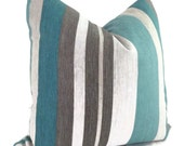 Turquoise, Teal and Gray Stripe Linen Decorative Pillow Cover