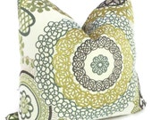 Green Suzani  Pillow Cover Square, Eurosham or lumbar pillow, Accent cushion, Throw pillow