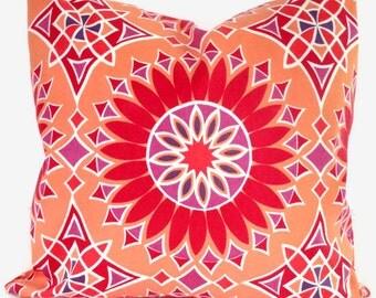 Trina Turk Soleil LA Red, Orange, Pink Indoor Outdoor Decorative Pillow Cover, Schumacher, 18x18, 20x20 or 22x22