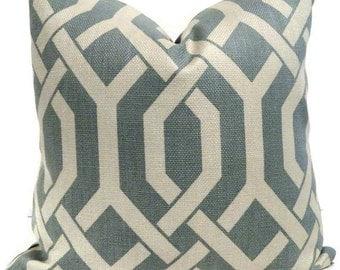 Robin Egg Blue and Off White Trellis Decorative Pillow Cover Square, Euro or Lumbar Pillow - Accent Pillow - Toss Pillow - Throw Pillow