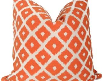 Tangerine Tango Ikat  Decorative Pillow Cover,  Featured on Nate Berkus Show - Accent Pillow - Throw Pillow
