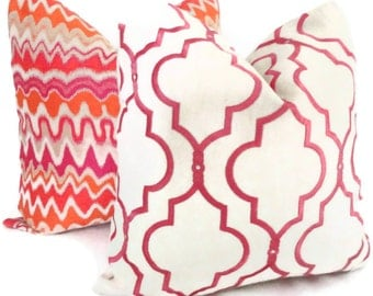 Kravet Pink Embroidered Trellis Decorative Pillow Cover 18x18, 20x20, 22x22, 14x20 or 12x24