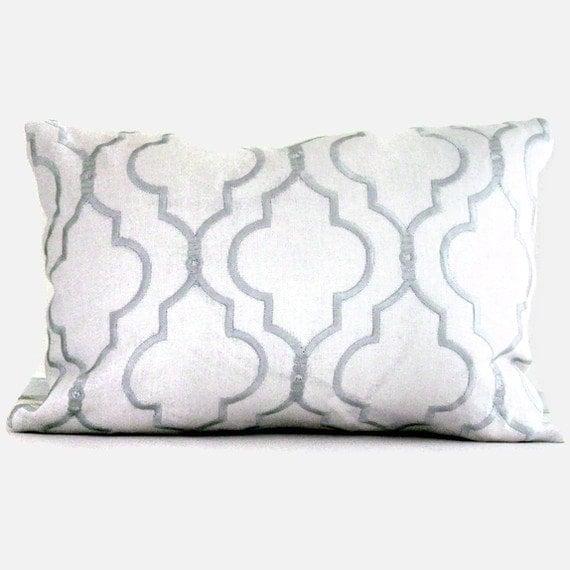 Kravet Spa Blue Embroidered Trellis On Linen Lumbar Pillow