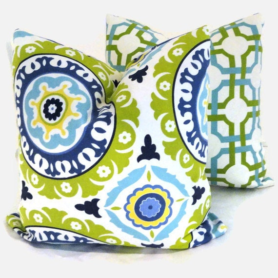 SALE Green and Turquoise Suzani Decorative Pillow Cover