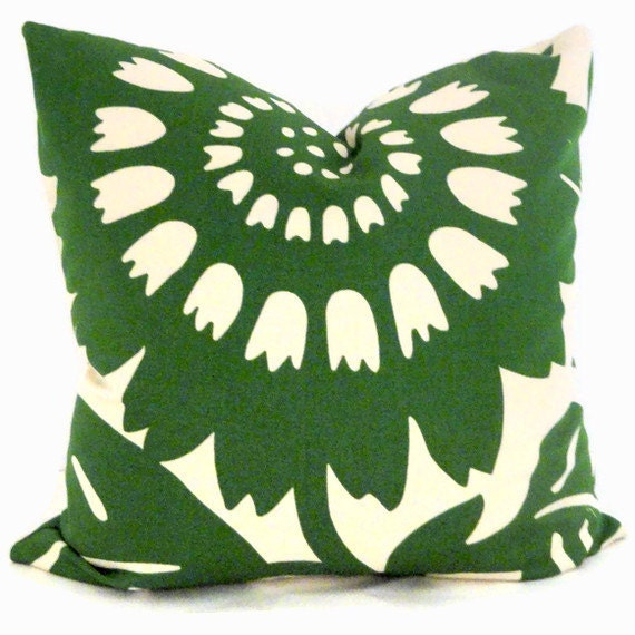 Emerald Green Sunflower, Duralee Decorative Pillow Cover, 18x18 LAST ONE