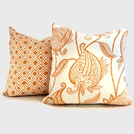 SALE Orange Paisley Flowers Duralee Decorative Pillow