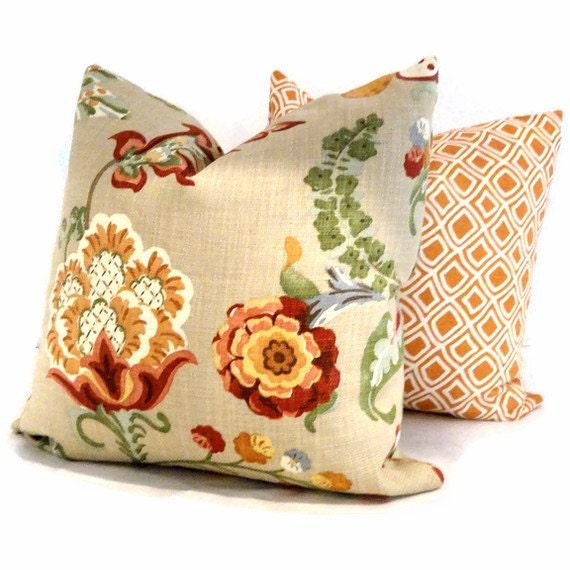 Kravet Orange Jacobean Flowers Decorative Pillow Cover, 18x18, 20x20, 22x22, Throw Pillow, Accent Pillow, Toss Pillow
