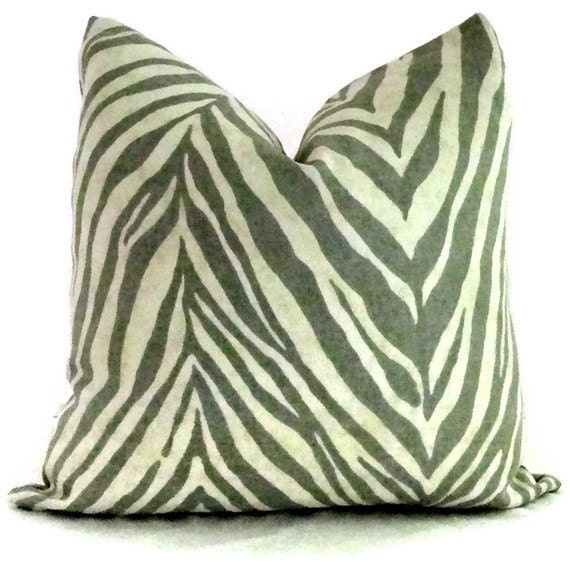 Gray and Ivory Zebra Print Linen Decorative Pillow by PopOColor