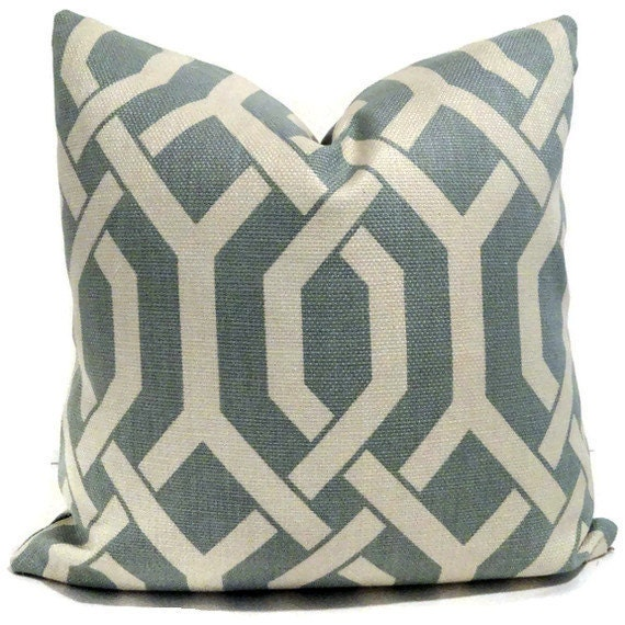 Robin Egg Blue and Off White Trellis Decorative Pillow Cover