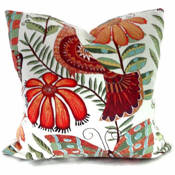 Butterflies, birds and flowers orange Pillow Cover 20x20