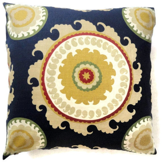 Red And Gold Decorative Pillow : Duralee Blue Gold and Red Suzani Decorative Pillow Cover