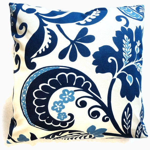 SALE Iman Cobalt Blue and White Floral and Scroll  Decorative Pillow Cover 17x17 or lumbar